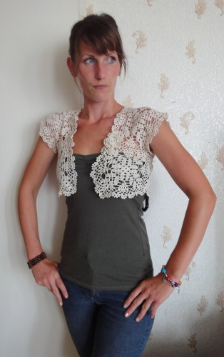 dentelle,bolero,fait main,ecru,unique,crochet,
