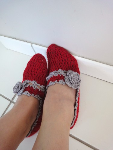 chausson,crochet,rouge,feminine,sexy,