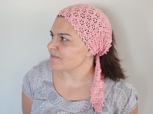bandan,turban,rose,fait main,crochet,